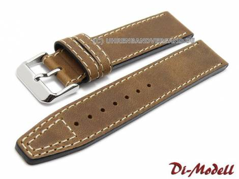 Military watch strap -Nevada- leather light stitching by DI-MODELL - Bild vergrößern