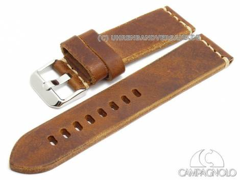 Vintage leather watch strap hand made in Italy light contrast stitching from CAMPAGNOLO - Bild vergrößern
