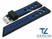 Watch strap 22mm black/blue silicone racing look matt by TZEVELION (width of buckle 20 mm)