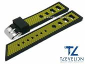 Watch strap 22mm black/yellow silicone racing look matt by TZEVELION (width of buckle 20 mm)