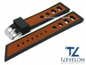 Watch strap 22mm black/orange silicone racing look matt by TZEVELION (width of buckle 20 mm)