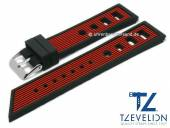 Watch strap 22mm black/red silicone racing look matt by TZEVELION (width of buckle 20 mm)