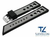 Watch strap 22mm black/white silicone racing look matt by TZEVELION (width of buckle 20 mm)