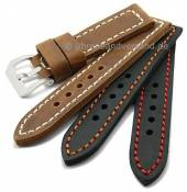Watch straps Trondheim antique-look calfskin strong stitching from MEYHOFER