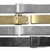 Watch strap Vienna mesh medium structure polished with slide clasp by MEYHOFER