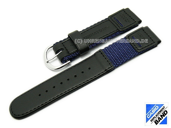 Casio Replacement Strap 18mm Black Dark Blue Leather Textile 10012372 For W 94hf