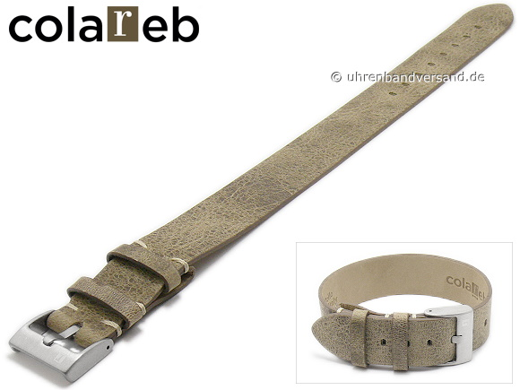 a47bc8f6a37 Watch strap -Strip Strap A1- 22mm beige leather vintage look one piece strap  by