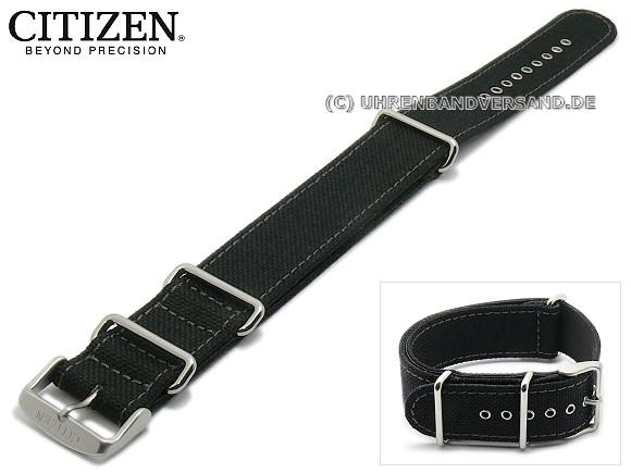 ba1f84e5b43 Replacement watch strap CITIZEN 22mm black NATO style grey stitching for  CA4098-06E - Bild