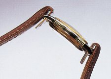 watch band 10mm for fixed bars brown grained surface by Eichmueller (width of buckle 8 mm)