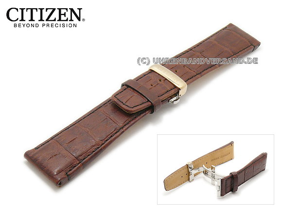 Replacement watch strap CITIZEN 25mm dark brown leather with clasp for  BT0078-00E etc. 24fc0ade5