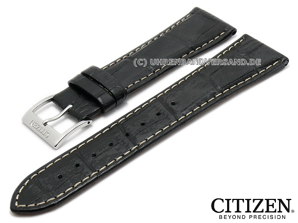 613bf062216 Replacement watch strap CITIZEN 22mm black leather alligator grain light  stitching for BH1640-08A etc