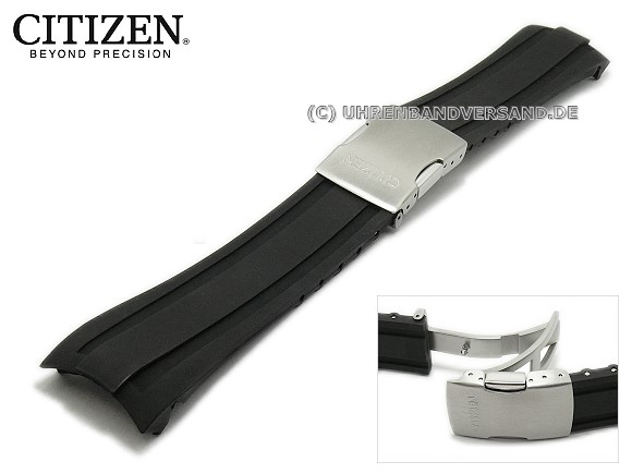 Watch strap original CITIZEN 24mm black rubber (PU) with curved ends for  AT4008- c015488c7