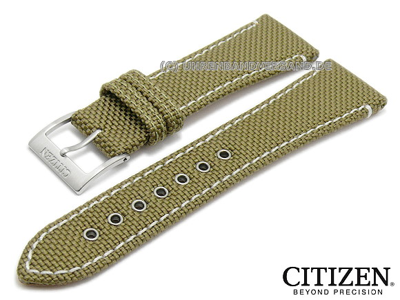 Watch strap original replacement CITIZEN 22mm oliv green textile light  stitching for AT1150-06F - 64a405841