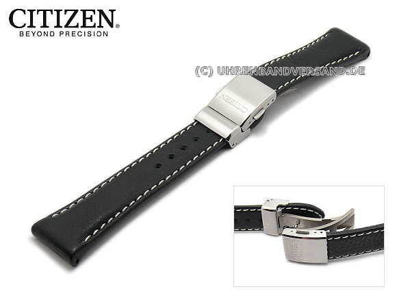 Replacement watch strap CITIZEN 23mm black leather with clasp smooth  surface for AS4050-01E etc 8ad9aae25