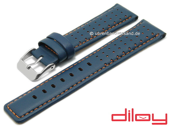 6fae71e6a Watch strap 24mm blue leather racing look orange stitching DILOY (width of  buckle 22 mm