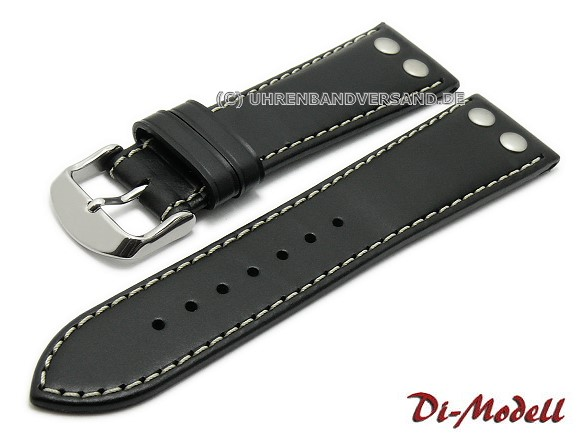 d14cc05a4ba Watch band black di modell ikarus smooth light contrast stitching with  rivets jpg 580x435 Band 24mm