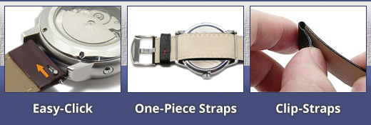 Easy-Change Watch Bands: Clip, One-Piece, EASY-CLICKstraps