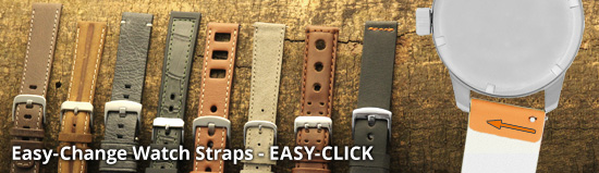 Easily exchangeable watch straps - EASY-CLICK & more