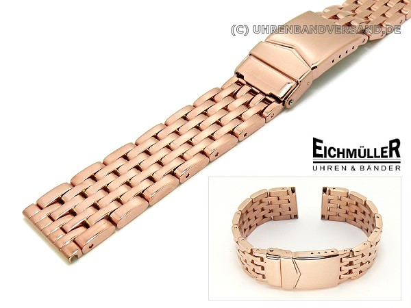 Watch Band 22mm Stainless Steel Rose Gold Plated Solid Polished From Eichmueller