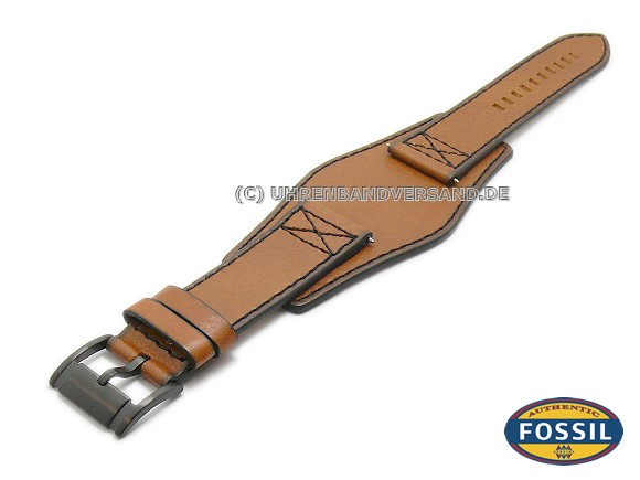 8eb3e833ff003 Watch strap original replacement FOSSIL 24mm light brown with leather pad  for FS4616 - Bild vergrößern