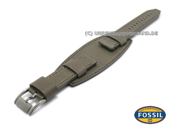 d94642275f8af Watch strap original replacement FOSSIL 20mm grey with leather pad for  JR1418 Keaton - Bild vergrößern