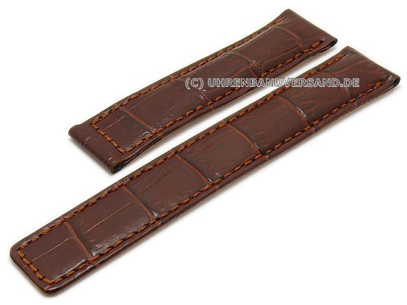 ff4d2cd87 Watch strap 19mm brown leather alligator grain stitched for TAG Heuer  Carrera by GECKOTA (width