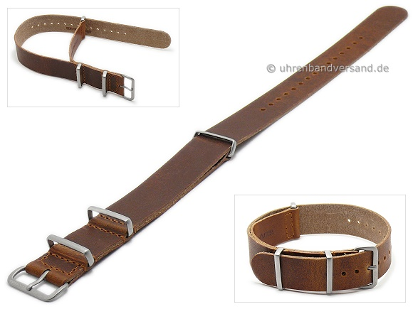13b193517a6 Watch strap 22mm brown Horween leather NATO style vintage look with 3  stainless steel loops one