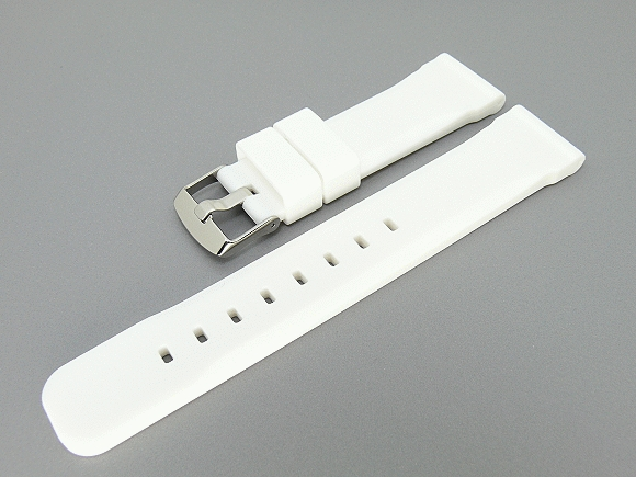 842037d887a Watch band white silicone smooth surface width of buckle bild jpg 580x435 Band  24mm