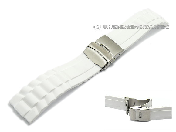 380035d9cfaa7 Watch band 20mm white silicone structured surface deployment clasp (width  of buckle 18 mm)