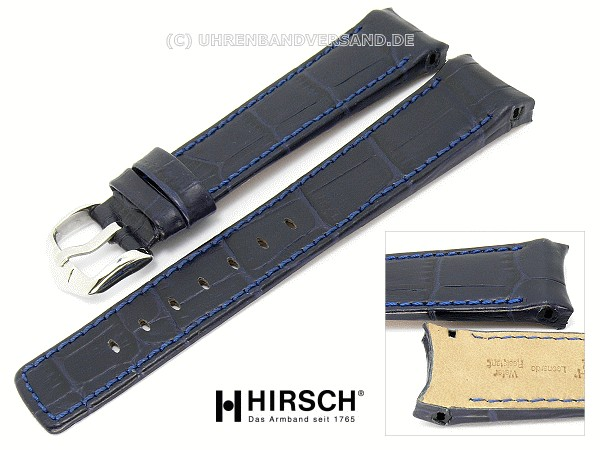 83f273d2b Watch band -Principal- 18mm dark blue alligator grain stitched with curved  ends by HIRSCH