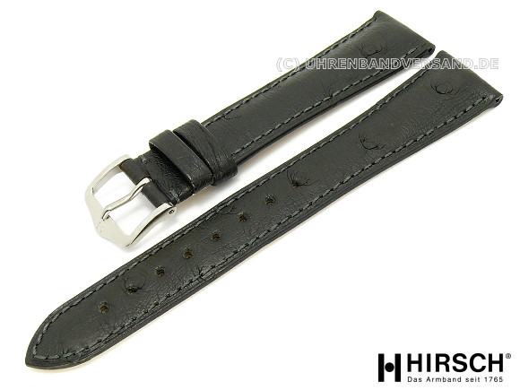 ad029a447 Watch band -Massai- 17mm black stitched ostrich leather by HIRSCH (width of  buckle