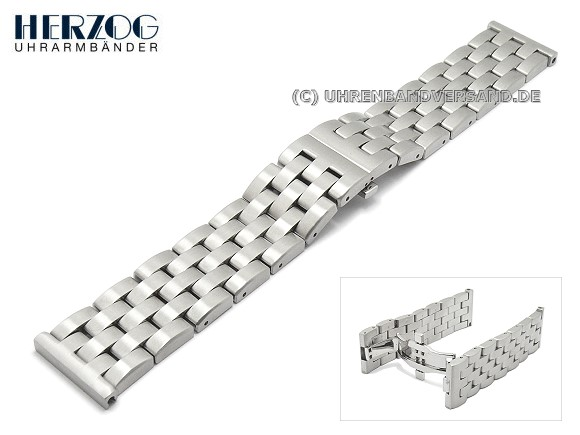 c319cdf538d Watch Strap 24mm Stainless Steel Silver Solid By Herzog Bild Vergrößern