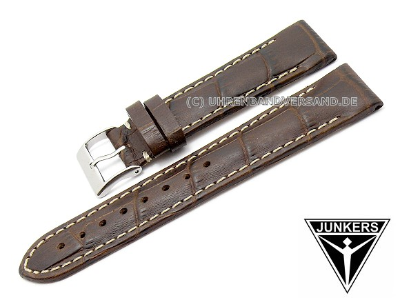 267b5223a Replacement watch strap JUNKERS 18mm dark brown leather alligator grain for  6289, 6335, 6337