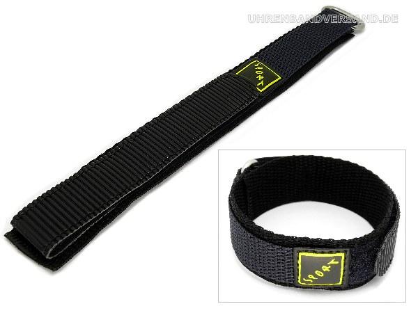 e071c7bc463 Watch band 20mm black hook and loop (textile) with metal loop - Bild  vergrößern
