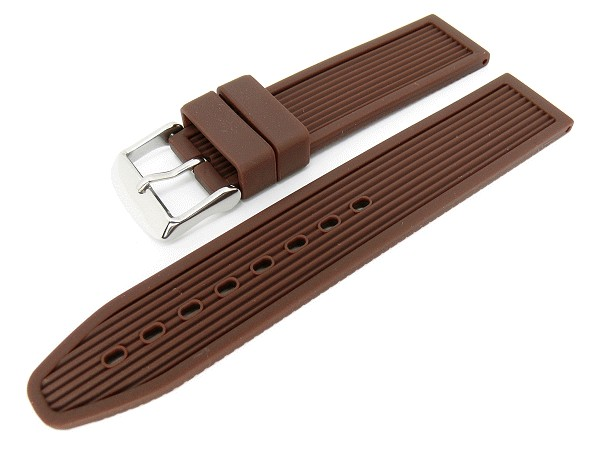 73f0683a6 Watch band 20mm brown silicone with stripes (width of buckle 20 mm) - Bild