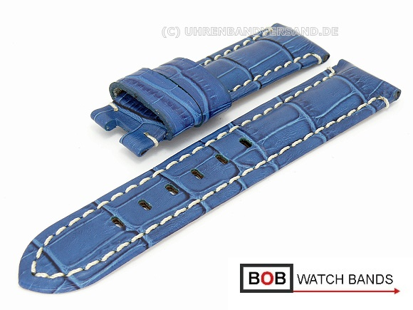 Watch band 22mm royal blue for Panerai clasp alligator grain light colored  contrast stitching by BOB 9fd19552b97b
