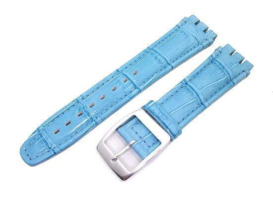 c43e3890b Watch band Alligator Big for Swatch 19mm light blue leather alligator grain