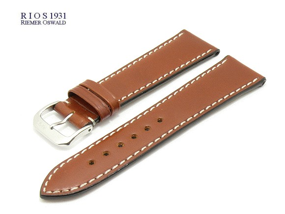 d6f9efc8e Watch band -Pensa- 20mm brown by RIOS Juchten leather smooth white  stitching (width
