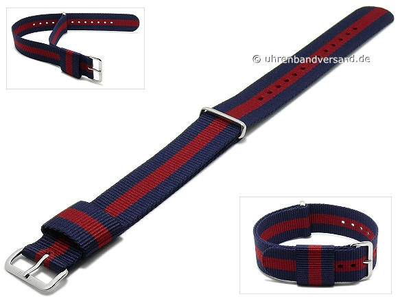 Replacement watch strap DANIEL WELLINGTON 20mm dark blue synthetic/textile red stripe for Classic Oxford
