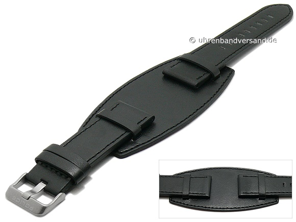 6e6e18a247d Replacement watch strap POLICE 24mm black leather grained with leather pad  (width of buckle 22