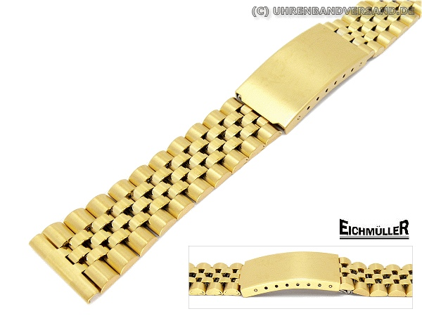 Watch Band 20mm Stainless Steel Gold Plated Jubilee Style Partly Polished From Eichmueller