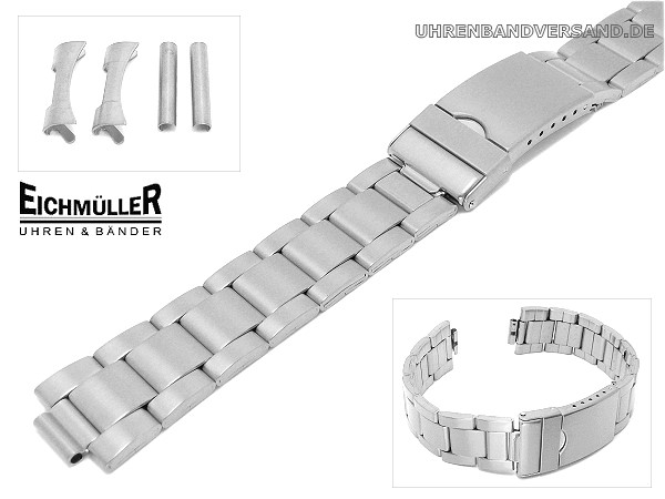 91d21ab004b139 Watch band 22mm stainless steel matt straight & curved end links from  Eichmueller - Bild vergrößern