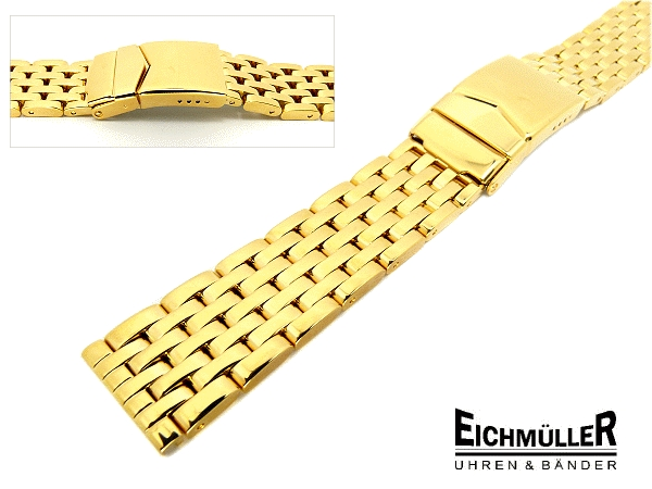 Watch Band 18mm Stainless Steel Gold Plated Solid Polished From Eichmueller