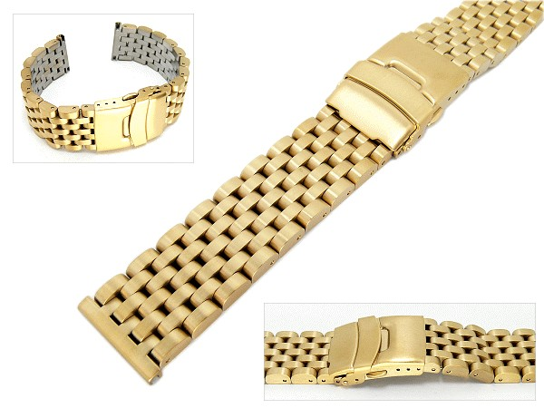 Watch Band Stainless Steel 20mm Solid Gold Plated Brushed Surface Heavy Type