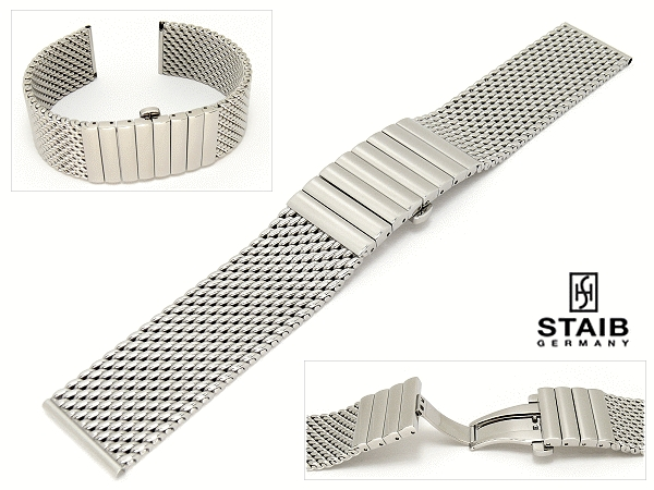 226bab003 Watch band XS (extra short) stainless steel 20mm mesh polished butterfly  clasp by Staib