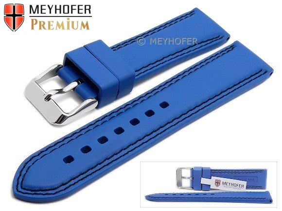 Watch strap -Calgary- 22mm royal blue caoutchouc smooth black double  stitching by MEYHOFER ( 16a06a8e1ffc