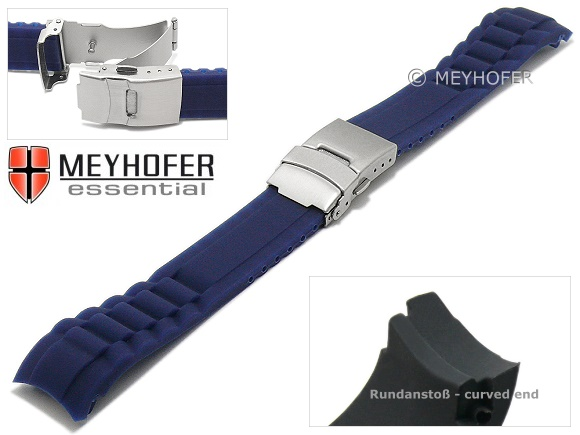 Watch Strap Vernon 22mm Dark Blue Synthetic Matt With Curved Ends Clasp By Meyhofer