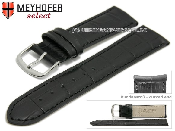 89dee0c59 Watch strap -Sarasota- 19mm black leather alligator grain with curved ends  by MEYHOFER (