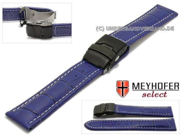 Watch strap -Singapur- 22mm royal blue leather alligator grain with black  clasp by MEYHOFER 1f757f538a9f