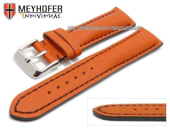 92e134598 Watch strap -Paracatu- 18mm orange leather smooth black stitching by  MEYHOFER (width of